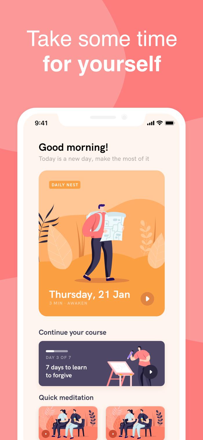 Meditation Nest - app screenshot